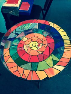 Large, colorful spiral b Mosaic Stepping Stones, Stone Mosaic, Mosaic Glass, Glass Art, Stained Glass Designs, Mosaic Designs, Mosaic Patterns, Mosaic Tray, Mosaic Tiles
