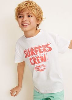 Tokyo Laundry Kids Wave Riders Surf T Shirt Boys Girls Crew Neck Appliqued Top
