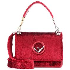Fendi Kan I F Velvet Shoulder Bag (139,595 DOP) ❤ liked on Polyvore featuring bags, handbags, shoulder bags, red, velvet purse, shoulder handbags, red shoulder bag, red purse and fendi purse