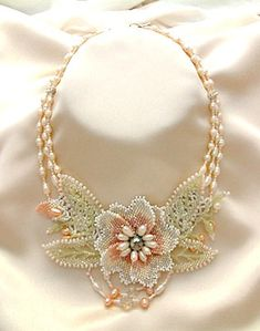 Bead Jewelry Necklace Hydrangea Bridal by NewWorldElegance on Etsy, $220.00