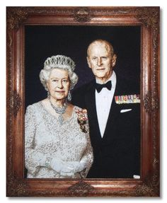 21 April 2016 : birthday of the Queen of Great Britain. My new portrait. Family portrait of Queen Elizabeth II and Prince Philip, Duke of Edinburgh. Embroidery size 830 mm x 600 mm. Carved mahogany frame was made by my husband.