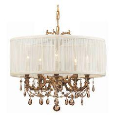 Brentwood Aged Brass Five-Light Chandelier with Golden Teak Swarovski Strass Crystal