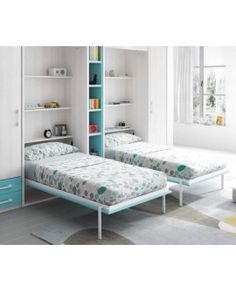 TEO - Chambre pour enfant avec armoires lits escamotables - composition 361 Twin Wall Bed, Bed Wall, Home Bedroom, Kids Bedroom, Bedroom Decor, Baby Deco, Bedroom Arrangement, How To Dress A Bed, Kids Room Furniture