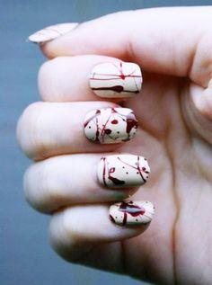 2014 Japanese Nail Art- Halloween Splatter Nails With Sticky Tabs Splatter Nails, Paint Splatter, Drip Nails, Cute Nails, Pretty Nails, Nail Art Designs, Nail Design, Hair And Nails, My Nails