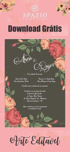 Arte para convite de casamento Grátis, Layout floral totalmente editável, download Gratuito no site!