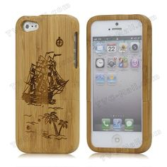Detachable Sailing Ship Real Wood Case Cover for iPhone 5 5s