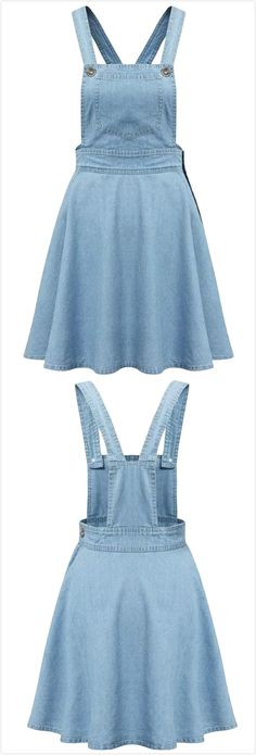 The denim suspender dress features side buttons and patch pockets, it's fit for daily wear or other casual ocassions. You could get more surprise at Azbro! Teen Fashion Outfits, Cute Fashion, Hijab Fashion, Girl Fashion, Fashion Dresses, Cute Casual Outfits, Casual Dresses, Denim Overall Dress, Suspender Dress