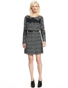 Limited Edition Lace & Spotted Dress with Belt-Marks & Spencer