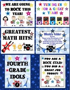 Rock And Roll Classroom Theme Back to School Pack $