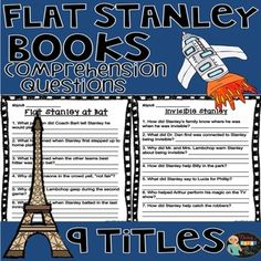 Comprehension Questions for 9 Flat Stanley Books Flat Stanley and the Very Big Cookie Flat Stanley at Bat Show-and-Tell, Flat Stanley! Flat Stanley and the Haunted House Flat Stanley Goes Camping Invisible Stanley The Mount Rushmore Calamity The US C Flat Stanley, 3rd Grade Reading, Comprehension Questions, Day Book, Close Reading, Christmas Books, Show And Tell, Go Camping, Teacher Pay Teachers