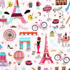 white Eiffel Tower fabric Timeless Treasures April in Paris - Retro Fabric - Fabric - kawaii shop modeS4u