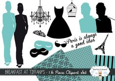 Breakfast at Tiffanys Clipart set of x16 including 3 digital papers! Use these fab movie clipart images, from the classic Audrey Hepburn movie,…