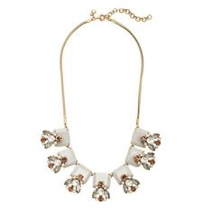 Crystal and stone row necklace
