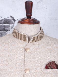 Shop Silk cream color jodhpuri suit online from India. Latest Mens Suit Designs, Latest Suit Design, Pakistani Kurta Designs, Prince Suit, Buy Suits, Designer Suits For Men, Men Online, Eid, Mens Suits