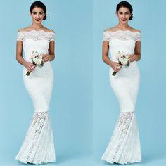 Matrimonio crociera vestito lungo in pizzo bianco a sirena  Taglia 16 UK che corrisponde a 46/48 italiana  https://www.lorcastyle.it