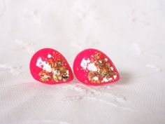 Hey, I found this really awesome Etsy listing at https://www.etsy.com/listing/192437838/hot-pink-and-gold-leaf-tear-drop-studs