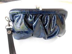 Vera Wang Blue Gathered Wristlet Evening Bag Kiss Closure Black Satin Interior   Sold