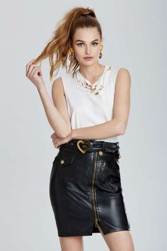 Vintage Moschino Turin Leather Skirt - Bottoms