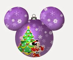 Speciall Christmas: Mickey and Minnie in Mickey Heads. - Oh My Fiesta! in english Mickey Mouse Y Amigos, Minnie Y Mickey Mouse, Mickey Mouse Christmas, Christmas Cartoons, Mickey Mouse And Friends, Kids Christmas, Christmas Crafts, Christmas Bulbs, Christmas Decorations
