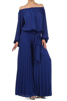 Royal Blue Long-sleeve Off-shoulder Button Down Wide-leg Full-length Jumpsuit