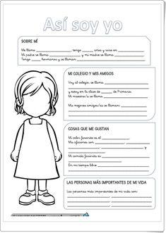 """Así soy yo"" (Fichas de Lengua Española de Primaria) Spanish Worksheets, Spanish Teaching Resources, Spanish Lessons, Teacher Resources, Learn Spanish, Spanish Teacher, Spanish Classroom, Kids Cartoon Characters, Elementary Spanish"