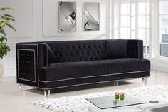 Lucas Black Velvet Silver Nailheads Button Tufted Upholstered Sofa