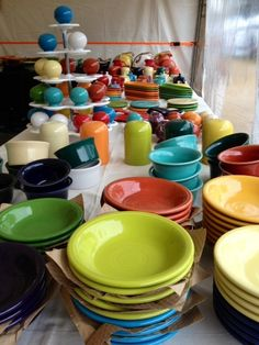 fiesta ware...I like the tiered tray for displaying salt and pepper shakers.