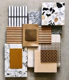 Tom Mark Henry Studio Palette I was drawn to this materials board because of the way the designers organized the vertical and horizontal lines. This intended layout direc Color Concept, Concept Board, Mood Board Interior, Interior Design Boards, Mark Henry, Material Board, Material Design, Design Palette, Style Deco