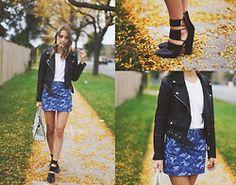 Sonya Esman - Asos Denim Camo Skirt, Zara Leather Jacket, Alexander Wang Mackenzie Boots, Zara White T Shirt, Céline Celine Luggage Tote - TO TRULY LIVE.