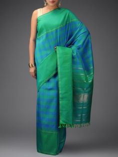Sky Blue-Green Zari-Checks Kanjivaram Silk Saree