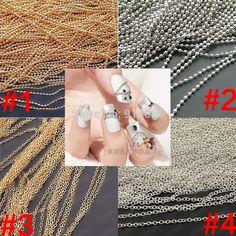 Metal Glitter Striping Ball Beads Chain Decorations, naill art decoration nail art chain gold and sliver Nail Art Supplies, Nail Colors, Arts And Crafts, Glitter, Decorations, Beads, Chain, Nails, Metal