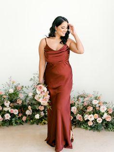 Silk Bridesmaid Dresses, Satin Dresses, Wedding Bridesmaids, Sequin Dress, Gowns, Wedding Dresses, Elegant Dresses, Color Terracota, Wedding Guest Looks