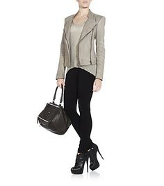 Helmut Lang Leggings, Leather Jacket & Top with Giuseppe Leather Booties