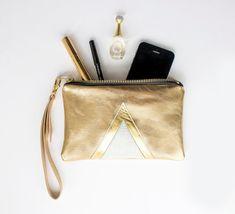 Gold Leder Clutch Metallische Gold Brauttasche von gmaloudesigns