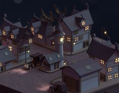Low poly Dark town