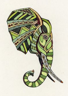 Impressive geometric elephant head in green colors tattoo design
