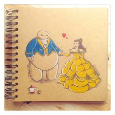 Some adorable art from DeeeSkye on Deviant Art of Baymax with some of the Disney princesses. Belle. [For more Disney tips, secrets, pics, etc., please visit my blog: http://grown-up-disney-kid.tumblr.com/ ]