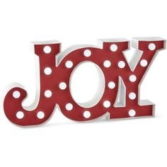 North Pole Trading Co. Joy Marquee Sign ($25) ❤ liked on Polyvore featuring home, home decor, wall art and dot sign