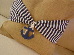 DIY nautical burlap and navy pillow from thymeless sage and random rants blog.