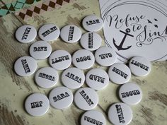 Custom name badges. You can customise your own for any occasion. Only 75p each.