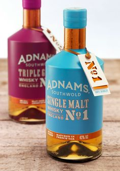 Adnams Whisky - CookChick & Adnams create a bold new direction for english whisky. The striking bottle design has been created by CookChick Design. Our aim was to create a radically different design by balancing the optimistic, and vibrant coastal colour palette with the copper from the distillery stills, leading to a tempting glimpse of the whisky inside. This bold design reflects the contemporary approach that Jonathan Adnams and John McCarthy have to making spirits