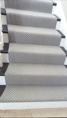 Exceptional Gray Stair Runner   Gray Stair Runner Stair Remodeling Idea With Black Treads And White Riser  Trends Gray Runner Pictures
