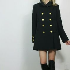 """Forever 21 Chic Black Military Coat Rad military cool jacket from forever 21 This one exceeds my f21 expectations by quite a lot great cut, shape and details. Gold buttons. Super collar + button situation.  Size m. Can def fit a variety of sizes depending on desired fit. Shown on 5'8"""" size small and I am liking the oversized fit.  Poly/rayon/spandex. Fully lined. Pockets. Lightweight but solid.   Very good condition. Could use a steam for those wrinkles.  Tags vintage, free people, Zara…"""