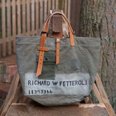 Canvas Tote made from Vintage Military Duffle by JaredDeSimioMaker, $275.00