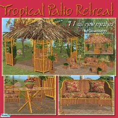 who needs to go on vacation when your backyard can look like a tropical retreat? Let your sims relax in the hot summer sun with this Tiki inspired set. Complete with grass roof, fence &. Sims 2, Tiki Bar Signs, Tropical Patio, Fence Planters, Summer Sun, Gazebo, Backyard, Outdoor Structures, Vacation