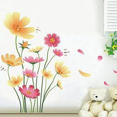 Chrysanthemums Butterflies Dragonflies Garden Wall Decal PVC Home Sticker House Vinyl Paper Decoration WallPaper Living Room Bedroom Kitchen Art Picture DIY Murals Girls Boys kids Nursery Baby -- You can get additional details at the image link.