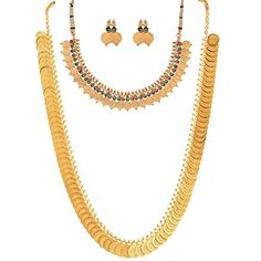 Trendy Jewellery Combos Long Traditional Maharani Coin Jewellery set Traditional Necklace Set with Earrings