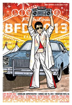 Live 105 BFD 2013  poster by Gregg Gordon  with Thirty Seconds To Mars - Passion Pit - Silversun Pickups - Of Monsters And Men - Awolnation - Jimmy Eat World - Airborne Toxic Event and many, many more bands