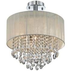 Antique Ivory Shade and Crystal Semi-Flush Ceiling Light