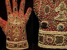 Gloves made in Sicily for the coronation of Emperor Frederick II (XIII c), silk, gems, pearls, enamelled plaques